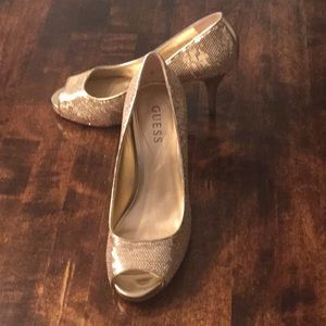 Guess Gold Sequined Heels